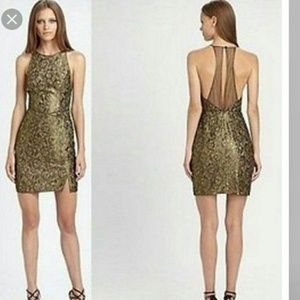 BCBG Max Azria METALLIC Gold TENYA Cocktail DRESS